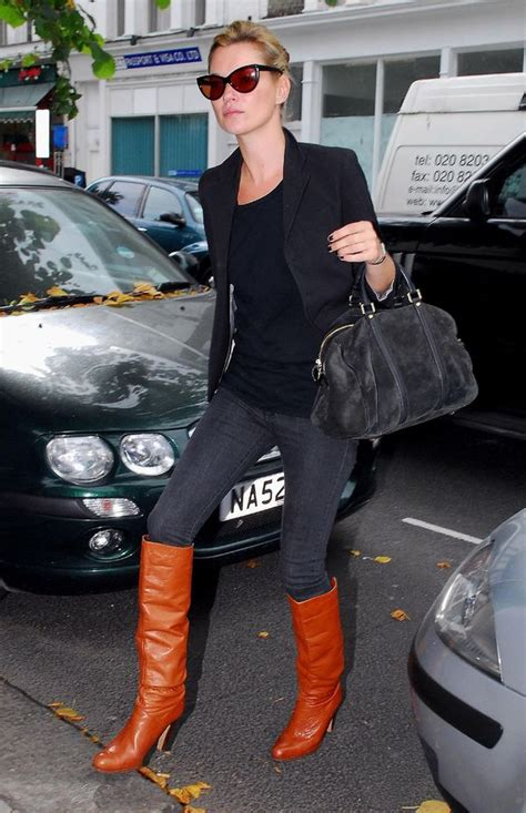 moodboard: Look of the Day: Kate Moss in Cognac Boots