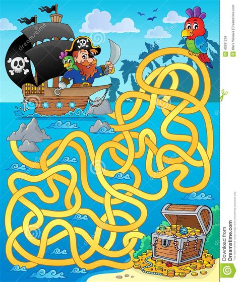 Maze 1 With Pirate And Treasure Stock Vector