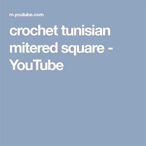 crochet tunisian mitered square - YouTube (With images