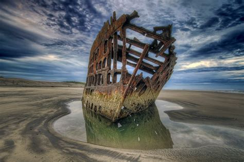 Peter Iredale at Dawn During Low Tide - HDR   Please click