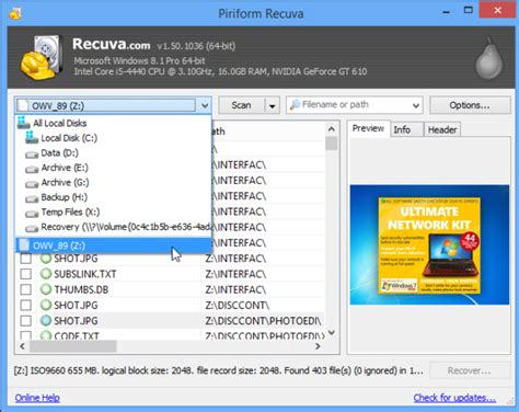 Recuva now recovers data from unmounted drives, ISO