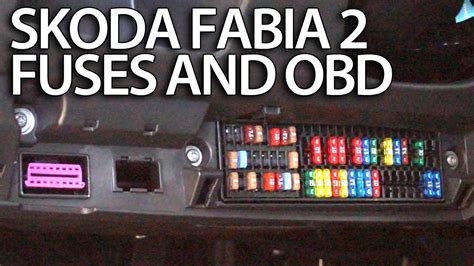 Where are fuses and OBD port in Skoda Fabia 2 (engine and