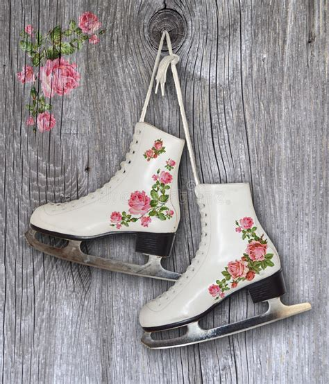 Pair Of White Ice Skates With Vintage Roses Decoration